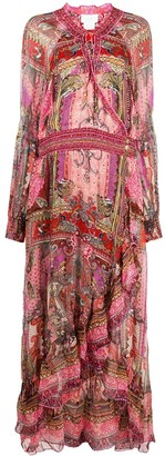 Camilla Paisley Embroidered Maxi Silk Dress