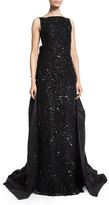 Oscar de la Renta Sleeveless Embellished-Lace Gown, Black