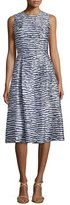 Michael Kors Sleeveless Pleated Dance Dress, Indigo/White