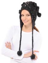 Betsey Johnson Cable With Crystals Earflap Hat
