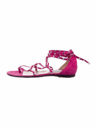 Jimmy Choo Suede Studded Accents Sandals Pink
