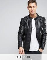 Asos TALL Leather Racing Biker Jacket in Black