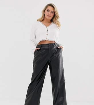 Wild Honey Plus wide leg pants in faux leather