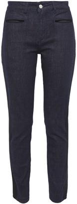 Claudie Pierlot Grosgrain-trimmed Mid-rise Slim-leg Jeans