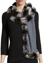 Badgley Mischka Faux Fur-Trim Knit Wrap, Gray