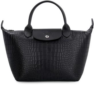 Longchamp Le Pliage Croco-print Leather Bag
