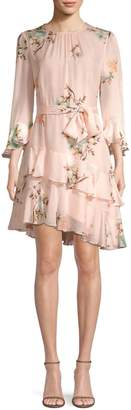 Joie Kayane Asymmetric Silk Ruffle Dress