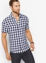 Michael Kors Slim-Fit Gingham Linen Shirt