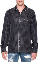 Dolce & Gabbana Dot-Print Long-Sleeve Pajama Shirt, Navy
