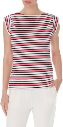 Anne Klein Stripe Cap Sleeve Top