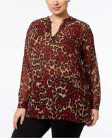 Anne Klein Plus Size Animal-Print Split-Neck Tunic