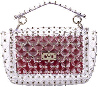 Valentino Clear Vinyl Rockstud Plexi Spike Top Handle Bag