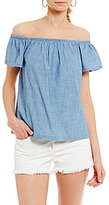 Levi's Off-The-Shoulder Ruffled Chambray Top
