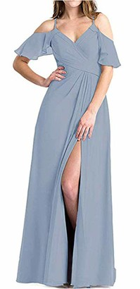 Leader of the Beauty Cold-Shoulder Spaghetti Straps A-Line Ruffled Chiffon Long Bridesmaid Dress with Split 18 Dusty Blue