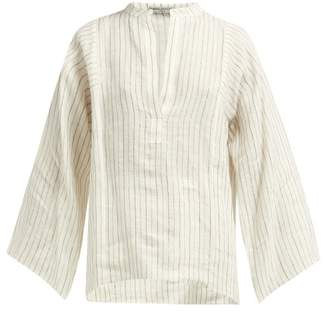 Three Graces London Angelique Striped Slubbed Top - Womens - Cream Multi