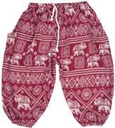 Lofbaz Boy's Drawstring Elephants Boho Harem Pants 5/6Y