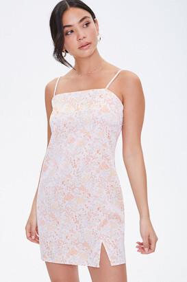 Forever 21 Satin Vented-Hem Floral Dress
