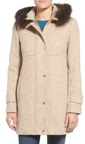 Ellen Tracy Genuine Fox Fur Trim Tweed Duffle Coat (Regular & Petite)