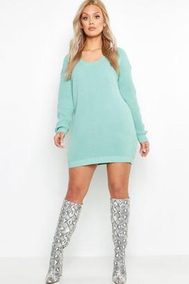 boohoo Plus V Neck Jumper Mini Dress