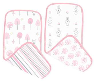 Swaddle Designs Cotton Muslin Baby Burpies, Pink Thicket, Set of 2 Burp Cloths