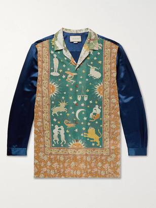 Gucci Camp-Collar Printed Cotton-Muslin And Satin Shirt