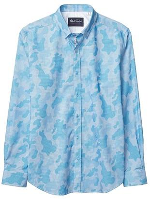Robert Graham Colby Tailored Fit Button-Up Shirt (Teal) Men's Short Sleeve Button Up