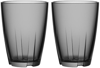 Kosta Boda Set of 2 Bruk Tall Tumblers - Gray