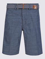 Blue Harbour Pure Cotton Tailored Fit Belted Shorts