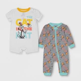 Dr. Seuss Baby 2pc Long Sleeve and Short Sleeve Bodysuit Set - Gray/White