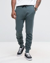 Asos Skinny Stacked Joggers In Slate Blue
