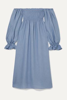Sleeper - Atlanta Off-the-shoulder Shirred Linen Midi Dress - Blue