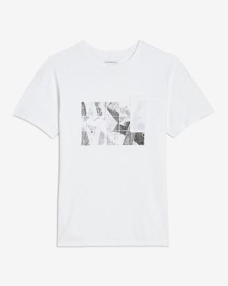 Express White Photo Graphic Pocket T-Shirt