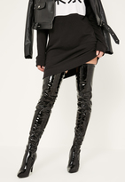 Missguided Black Patent Stiletto Over The Knee Boots