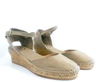 Toni Pons Stone Linen Romina Wedge-Heel Espadrille Sandals - 36/UK 3 | linen | stone | jute - Stone