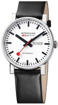 Mondaine '(Evo)lution' Automatic Leather Strap Watch, 40mm