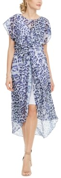 Adrianna Papell Twisted Animal-Print Dress