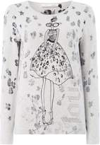 Oui Lola print grey jumper