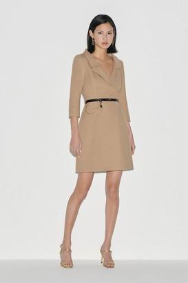 Karen Millen Black Label Italian Stretch Wool Collared Dress