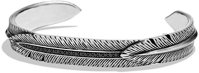 David Yurman Southwest Feather Wrap Cuff Bracelet with Black Diamonds