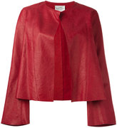 Forte Forte collarless open leather jacket