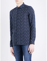 The Kooples Floral-print Fitted Linen Shirt