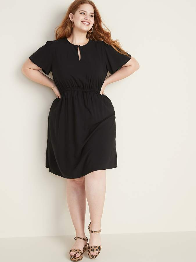 Waist-Defined Flutter-Sleeve Plus-Size Dress