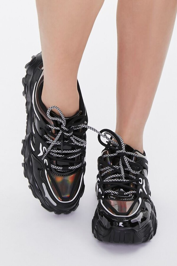 Thumbnail for your product : Forever 21 Semi-Iridescent Low-Top Sneakers