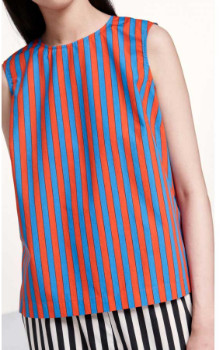 Marimekko Red with Blue Stripes Top