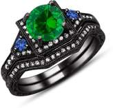 TVS-JEWELS Rhodium Plated 925 Silver Engagement Ring Wedding Band Bridal Set Blue & Green Sapphire Round