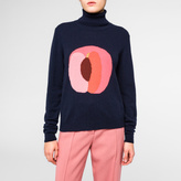 Paul Smith Women's Navy Cashmere 'Apricot' Intarsia Roll-Neck Sweater