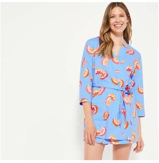 Joe Fresh Women's Print Robe, Bright Blue (Size S)