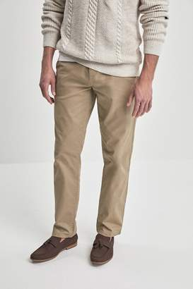 Next Mens Stone Straight Fit Comfort Waist Stretch Chinos - Natural