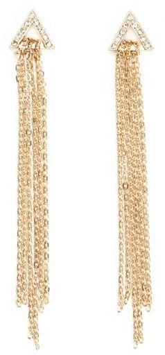 Charlotte Russe Chain Fringe Triangle Earrings