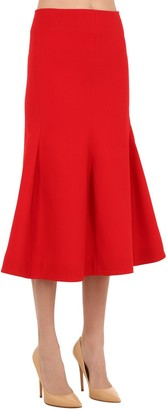 Victoria Beckham Virgin Wool Blend Crepe Pencil Skirt